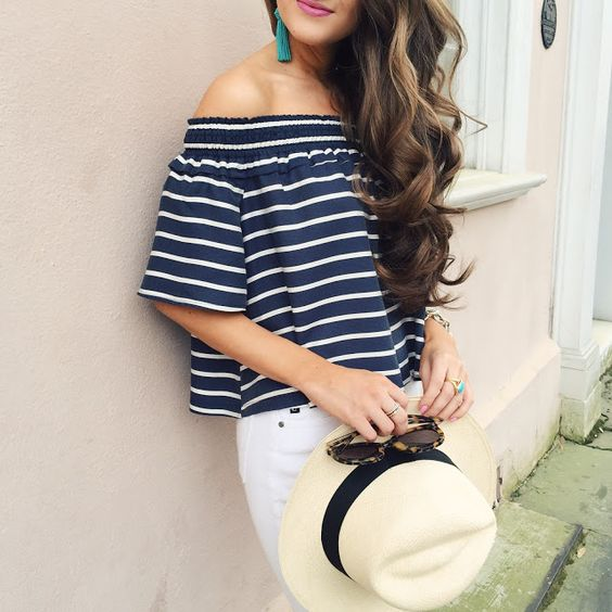 striped off shoulder top: