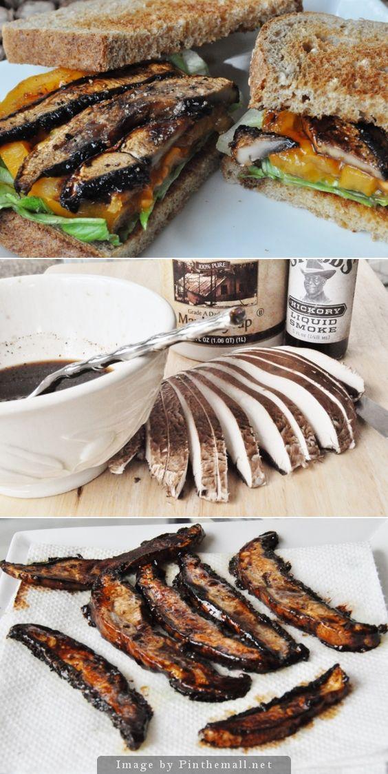 Delicious Vegan BLT (the B is some smoky maple portobello bacon!):