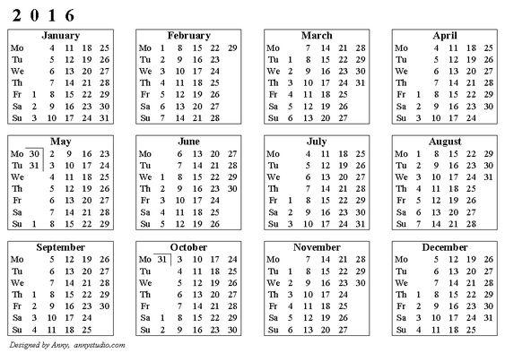 Basic calendar 2016, weeks start on Monday, horizontal image, black ...