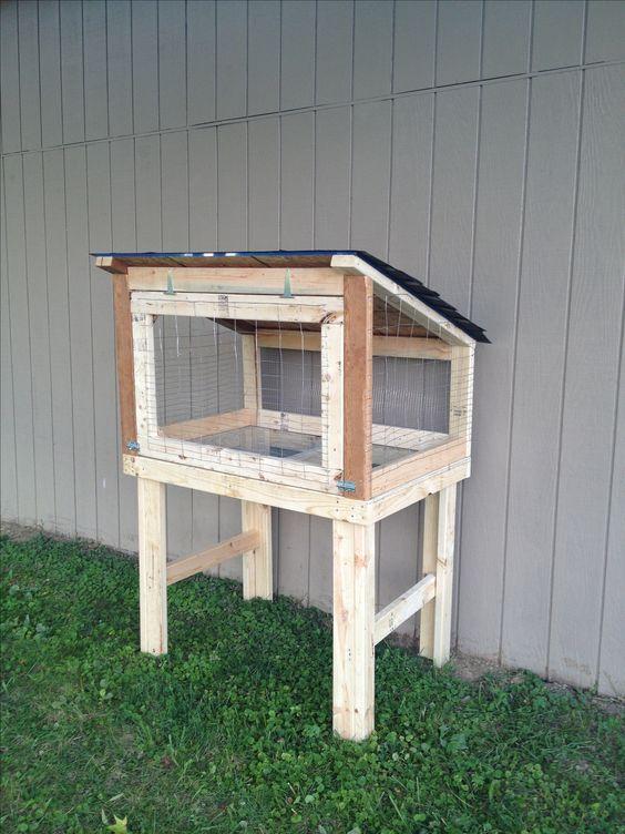 Rabbit hutch diy pole barn pinterest rabbit cages for Easy diy rabbit cage budget