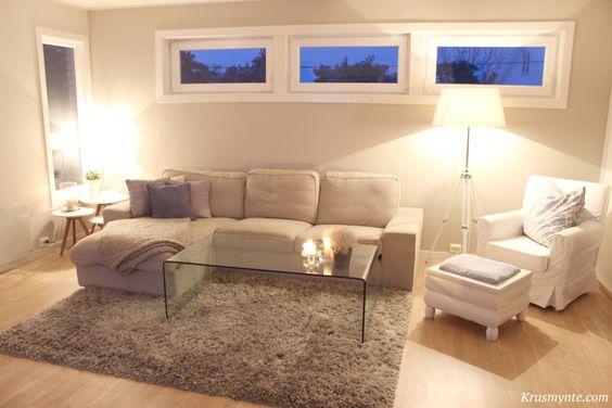 Stue stua livingroom omgjøring sofa grå kivik ikea glassbord lampe ...