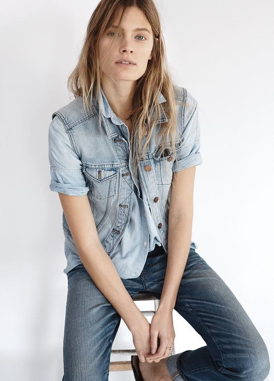 madewell jean vest worn with the chambray courier shirt + rivet & thread slim boyjean on our spring muse constance jablonski. #everydaymadewell