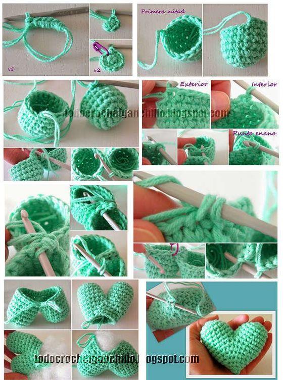 Llavero Corazon Amigurumi / Tutorial Todo crochet ...