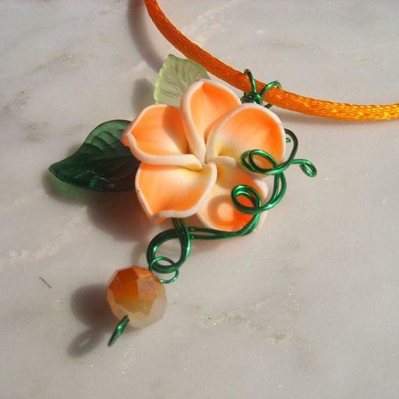 Neon Orange Tropical Plumeria Flower Fairy by FairyberryBlossoms, $23.99