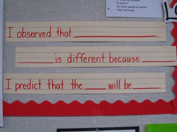Observation and prediction sentence frames