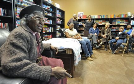 """NETTIE YOUNG, 92, the last surviving original member of the Gee's Bend quilting bee, speaks about how the CIVIL RIGHTS MOVEMENT was wrapped in the fabric of these quilts.  THE FREEDOM QUILTING BEE was born in 1966, during the last years of the movement.   """"Y'all don't know where I came from, and I want people to know where I came from,"""" she said. """"I enjoyed it - I really did.  I thank GOD from what I've come through.  If y'all don't know what BLESSED is, this is BLESSED."""""""