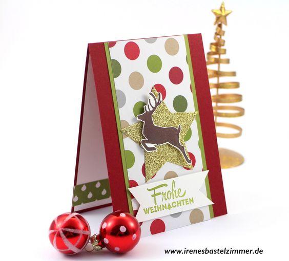 www.irenesbastelzimmer.de 24. Idee für Weihnachtskarten mit Stampin' Up! Weihnachtskarten basteln..............Weihnachtskarte#2