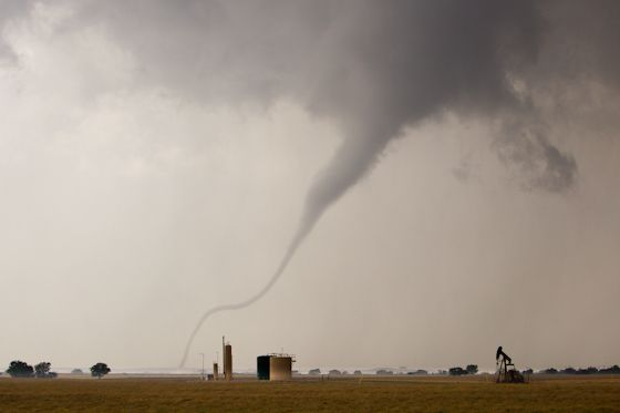 Funnel;Oklahoma;danger;energy;extreme;industry;nature;no-people;oil;outdoors;pumps;storm;thunderstorm;tornado;twister;weather