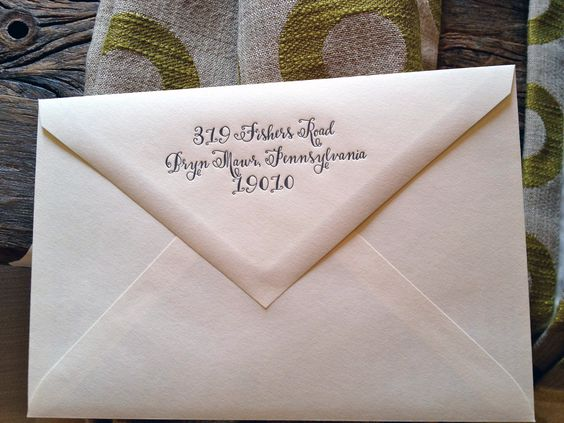 designsgirl Bescal calligraphy font on envelope flap