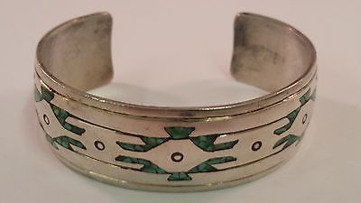 Native American Style Sterling Silver Cuff Bracelet Turquoise Inlays Fits 6""