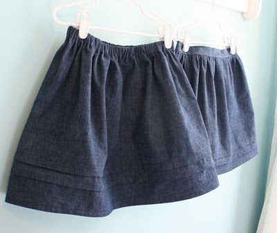 Flat Front Denim Skirt