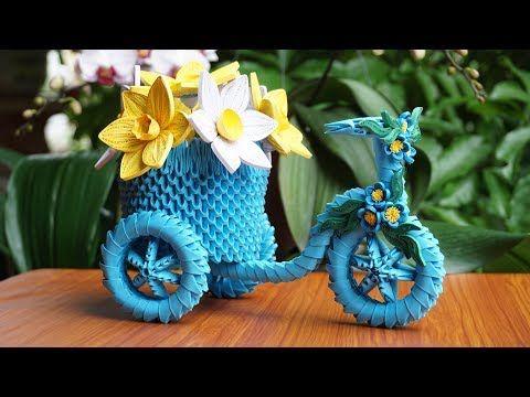 3d origami flowers basket.Tutorial - YouTube   360x480