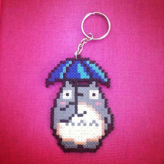 Studio Ghibli - otoro & Umbrella  keyring hama mini beads by Worldof8bitCraft