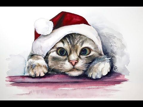 Watercolor Christmas Kitten Painting Tutorial Youtube