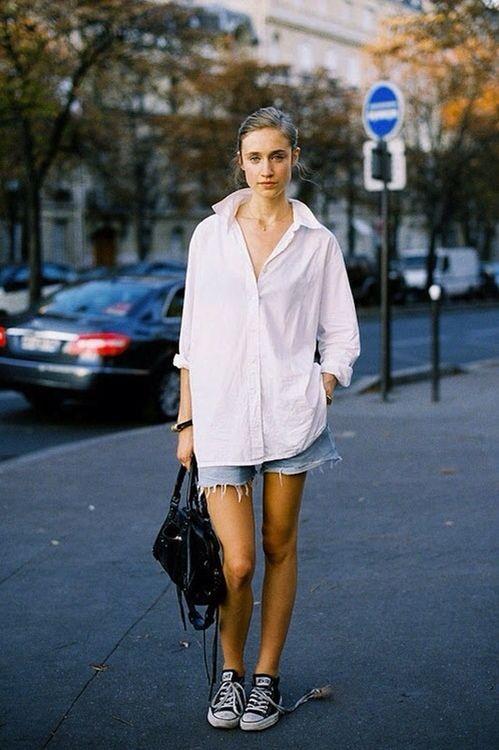 Boyfriend Shirt, Denim Shorts, Converse | Street Style: