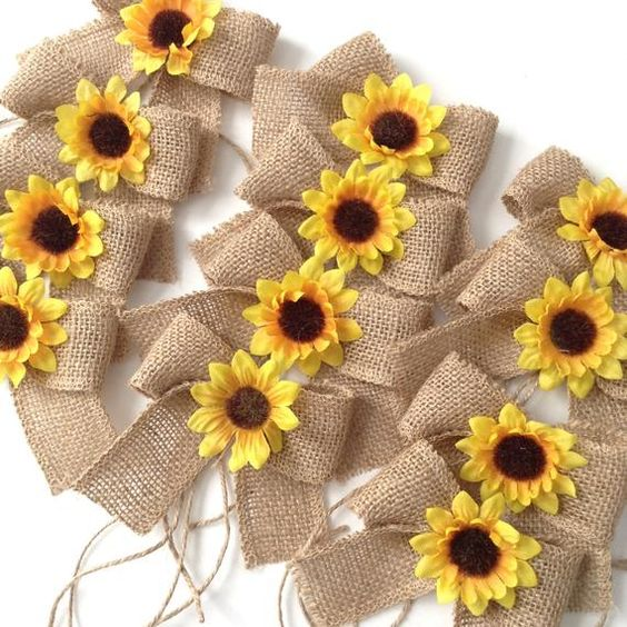 Sunflowers Burlap Mason Jars Bows / Small Burlap Bows Decor w | Etsy