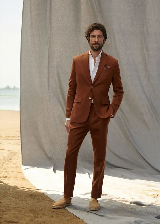 Slim-fit linen suit trousers