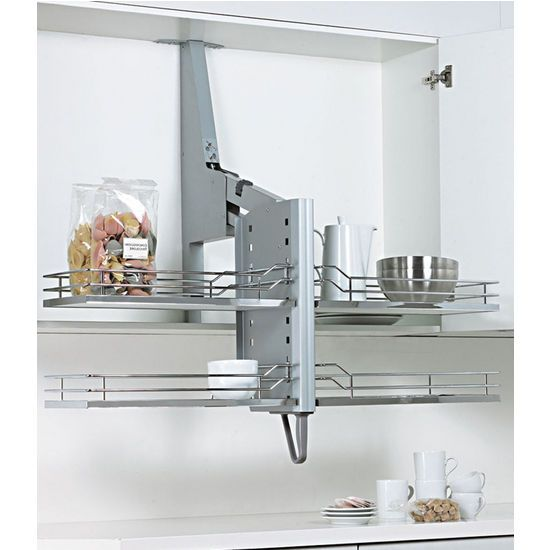 Pull down shelf system for cabinets kitchensource Kitchen cabinet organization systems
