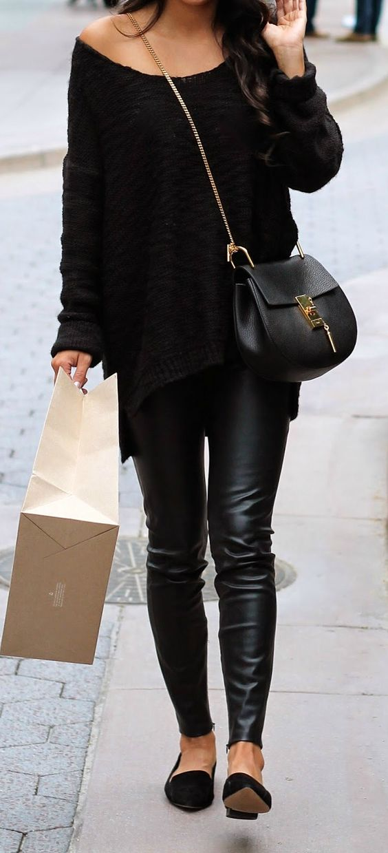 All black casual outfit leather pants oversized sweater chloe drew bag | Style Love ...