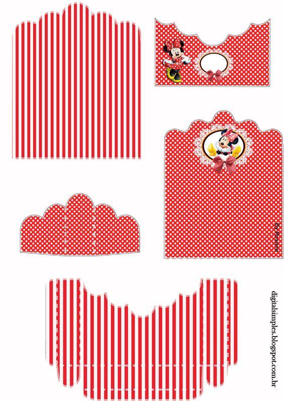 "Convites Digitais Simples: Kit Aniversário Personalizados Tema ""Minnie Vermelha"" para Imprimir"