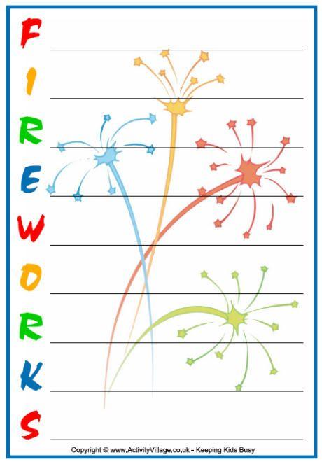 firework shape poems template - fireworks acrostic fireworks acrostic poem printable