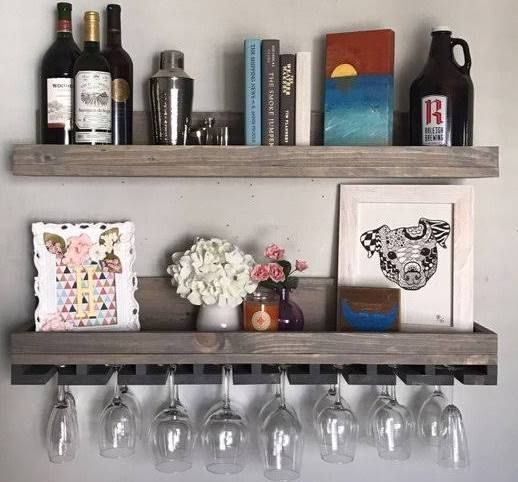 Wall Mounted Bar Shelves Wine Rack Shelf Wood Wine Racks Hanging Wine Rack