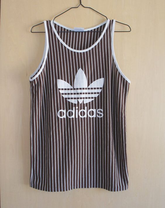 Vintage ADIDAS shirt, striped adidas trefoil tank top, women small adidas shirt, 1980s vintage adidas originals health goth