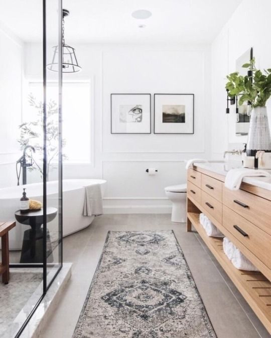 Inspiration: Gorgeous Master Bathroom with wood vanity, black framed shower enclosure and free standing tub design Leclair Decor #bathroomideas #style #home #bath #ideas #remodel