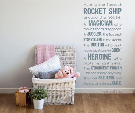 Vinilo piropos a mamá para decoración de pared–Texto bonito ...