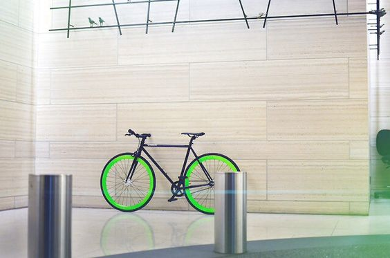 black fixie bike neon green wheels