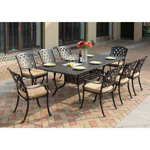 Fleur De Lis Living Campton 9 Piece Dining Set With Cushion Patio Dining Set Patio Set Dining Set