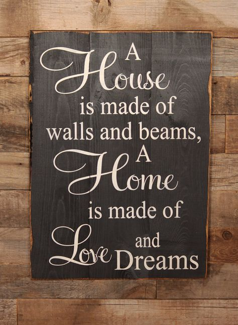 Large Wood Sign - A House is made of Bricks and Beams, A Home is made of Love and Dreams - Subway Sign
