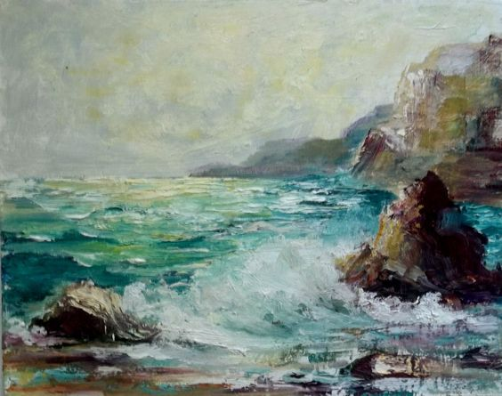 Impressionist Seascape oil painting Gail Grant California plein air art ocean: