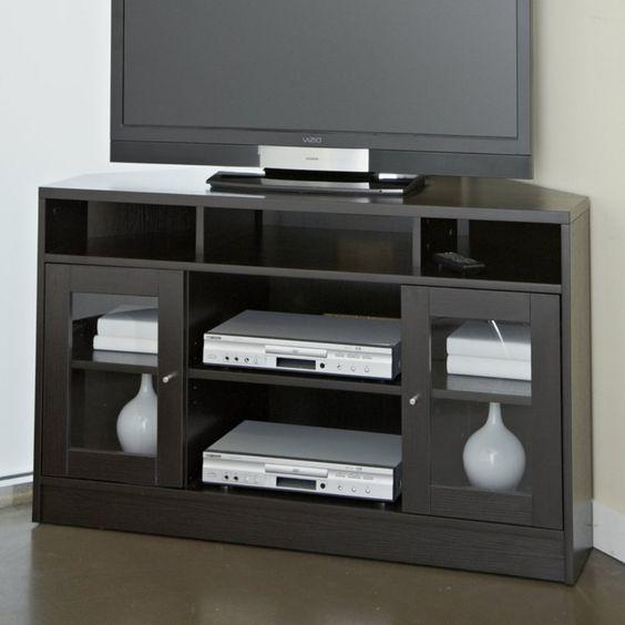 Jesper Pure Home Corner Tv Cabinet Espresso Www Hayneedle Com Corner Tv Cabinets Tv Stand Tv Stands And Entertainment Centers