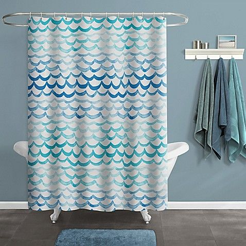The The Sea Shower Curtain Features A Calming Wave Pattern In Rich