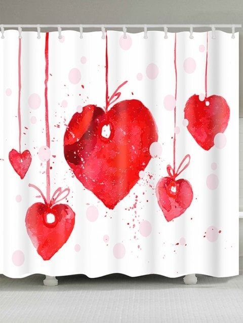 Valentine S Day Heart Cherry Waterproof Shower Curtain With