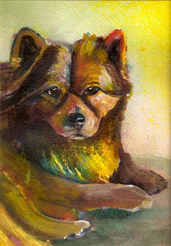 5x7 Painting Rusty Chow Mix Puppy Dog Pet Portrait SFA Miniature Penny StewArt #Impressionism