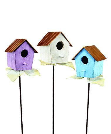 Look what I found on #zulily! Pastel Birdhouse Garden Stake - Set of Three #zulilyfinds