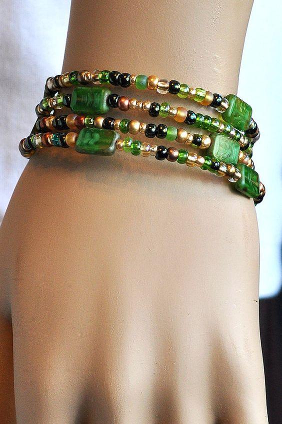 Green  Beaded  Bangle  Boho  Memory Wire Bracelet by bebsbeads, $18.00
