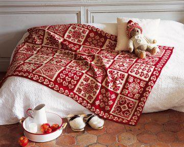 Un plaid tricot de coeurs et flocons pinterest recherche crochet et tri - Comment tricoter un plaid ...
