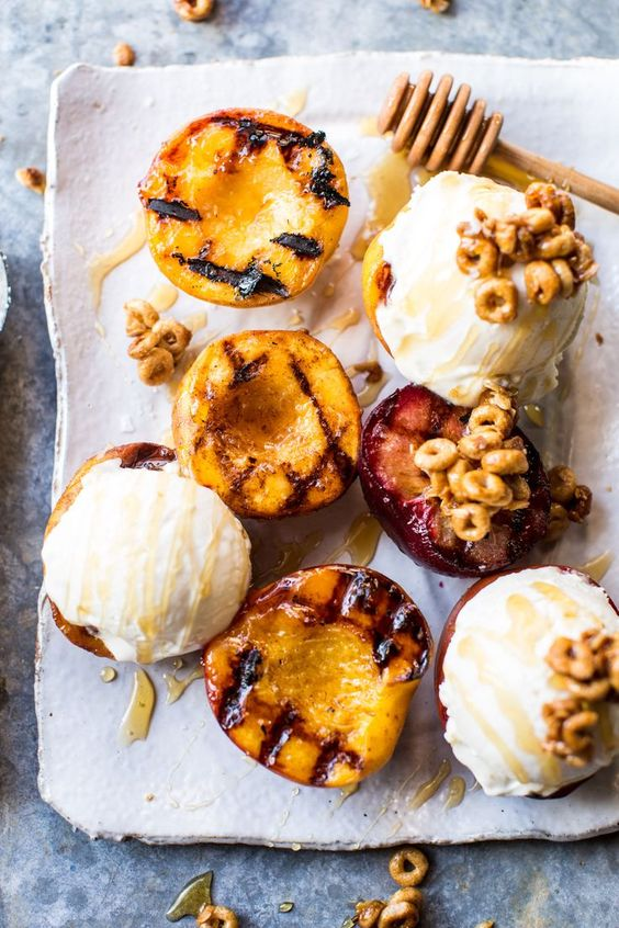 Cinnamon Grilled Peaches with Mascarpone Ice Cream and Honeynut Cheerio Granola