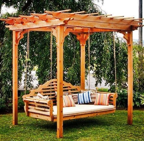 Arbor swing backyards and outdoor swings on pinterest for Cool porch swings