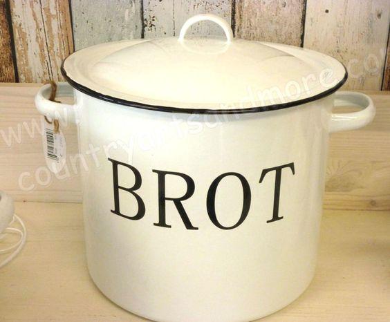 Emaille Vorratsdose,Brotbox,Brotkasten * BROT  * Shabby, Vintage, Antik - Finish