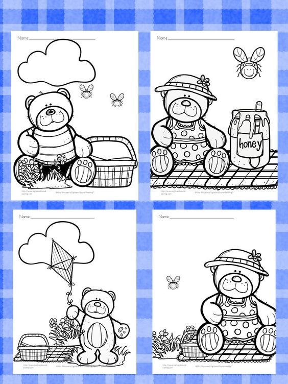 Teddy Bear Picnic Coloring Pages   Osos