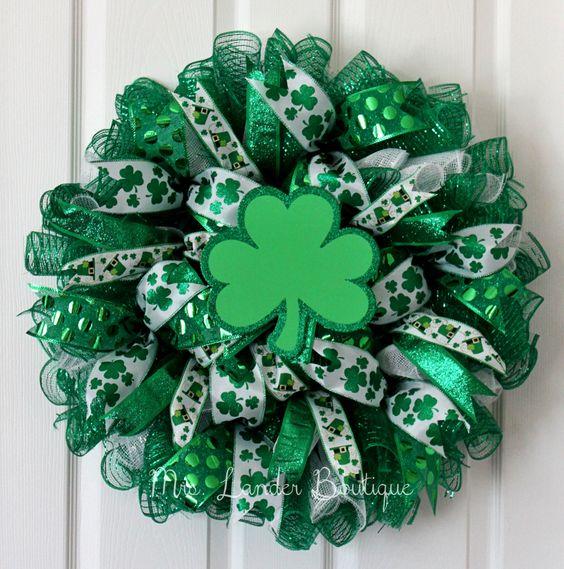Saint Patrick's Day Deco Mesh Wreath - Shamrock Wreath - Lucky St. Patrick's Wreath by MrsLanderBoutique on Etsy