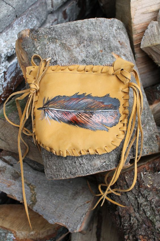 Handmade  and handpainted feather leather suede by Caramelka, $39.00