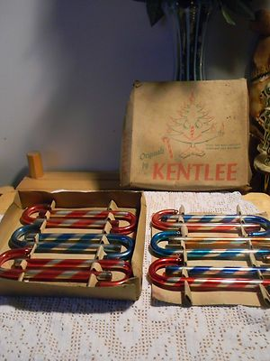 Very RARE Vintage Kentlee 12 Mercury Glass Candy Cane Ornaments in Original Box