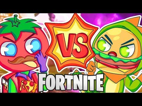 Epic Fortnite Food Fight Tomatoes Vs Burgers Youtube Funneh