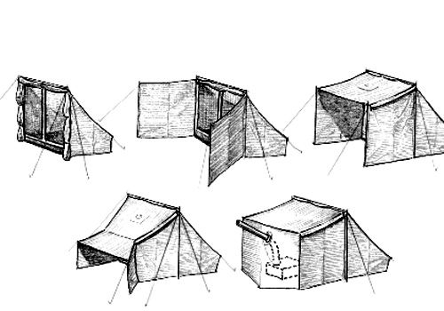 Tent outdoor shelters and camp fire on pinterest for Canvas tent plans