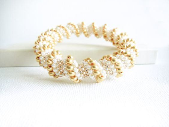 Wedding jewelry Pearl white golden peach bangle bracelet  bead woven rope Cellini spiral. Bridal jewelry  tbteam